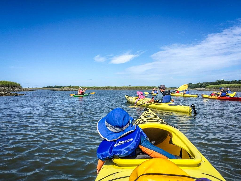 destination ideas for southern states road trip with kids - Charleston, SC kayak tour with a toddler