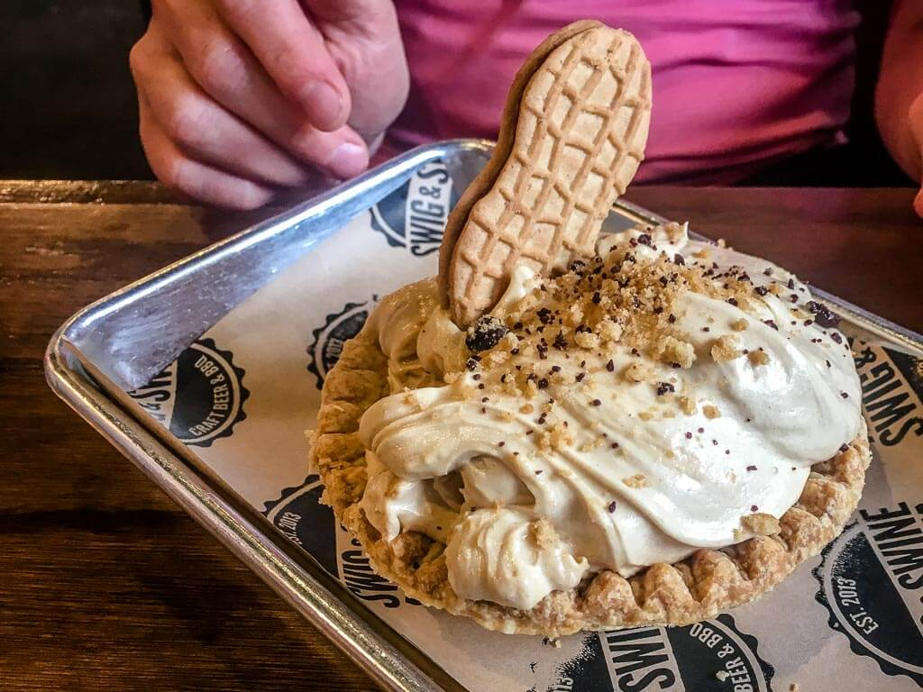 Family Can Travel - 48 Hours in Charleston South Carolina with Kids - decadent Peanut Butter Pie for dessert at the Swig & Swine