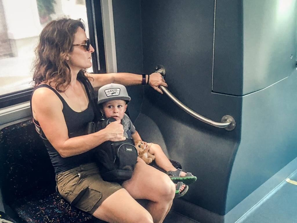 taking the DASH bus in Charleston with a toddler