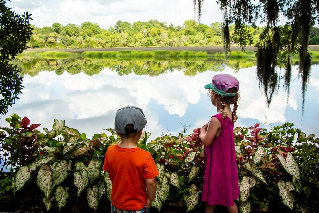 things to do with kids in charleston - walk along the river at the Magnolia Plantation with kids