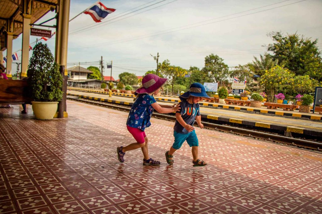 Ayutthaya Train Station with Children