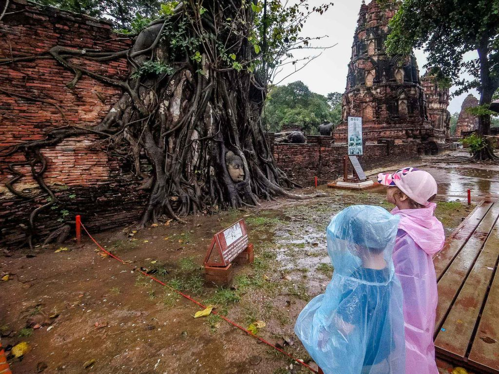 Wat Phra Mahathat in Ayutthaya Thailand with Kids