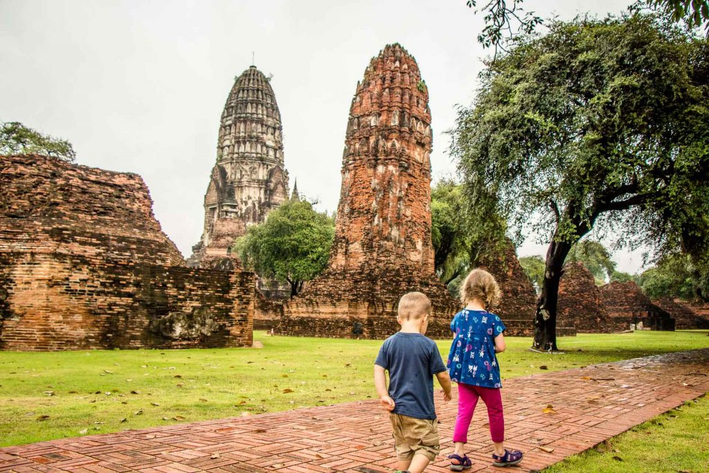 Wat Ratburana in Ayutthaya Thailand with Kids