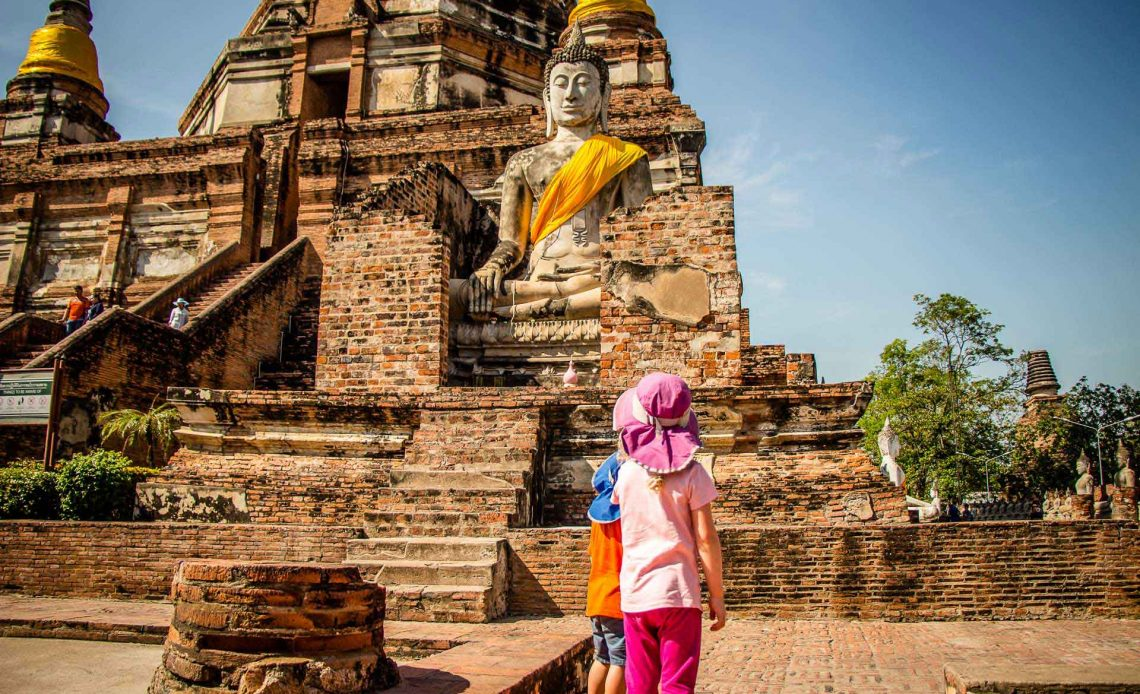 Wat Yai Chaya Mongkol in Ayutthaya Thailand with Kids