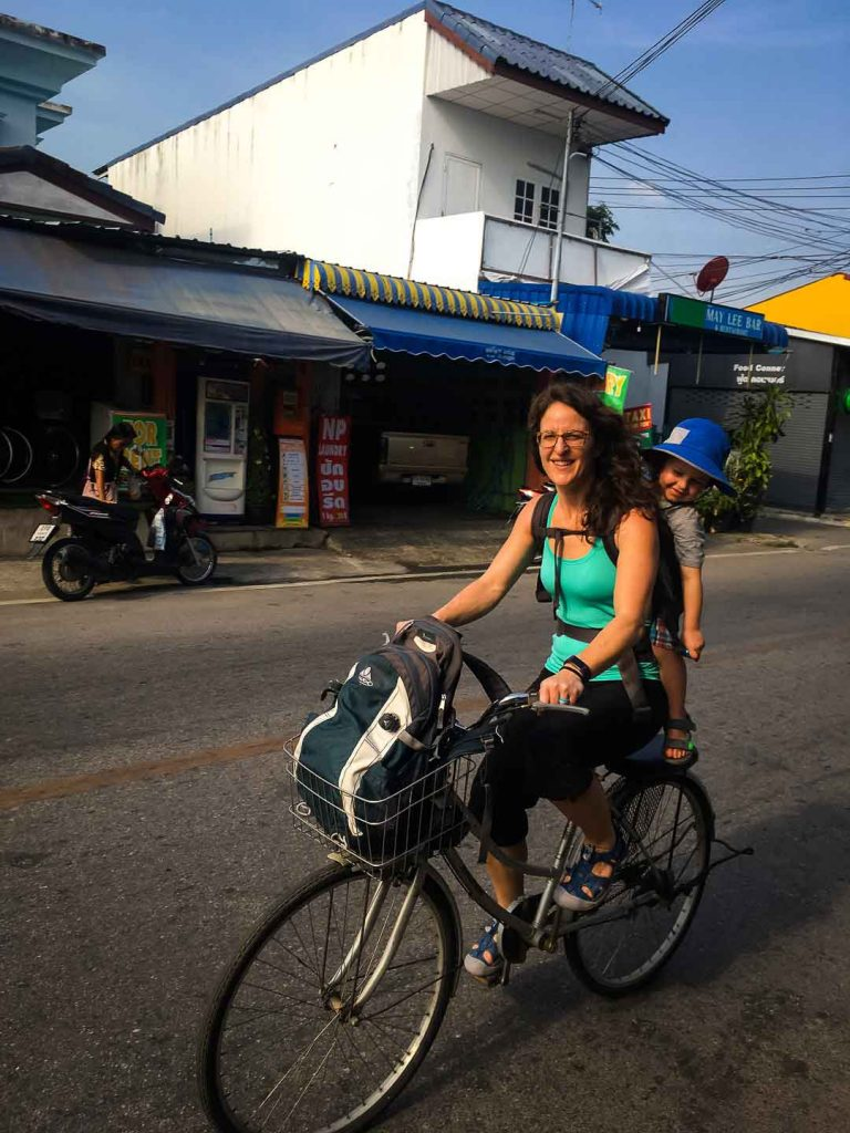 Biking in Kanchanaburi Thailand with kids