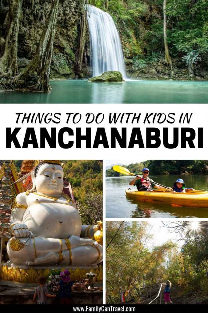 Best things to do in Kanchanaburi Thailand with Kids. Don't miss the opportunity to hike, bike and kayak in Kanchanaburi and Erawan National Park. #thailand #kanchanaburi #erawannationalpark #erawanwaterfalls #thailandwithkids #thingstodo