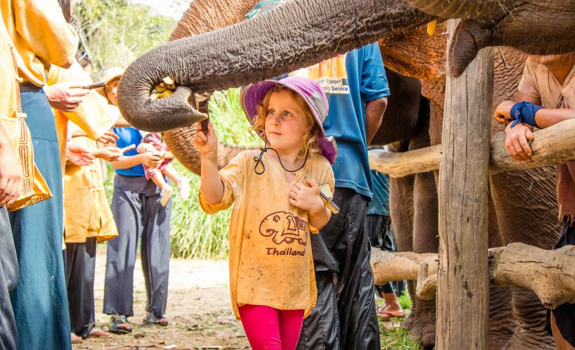 Elephant sanctuary in Thailand with kids