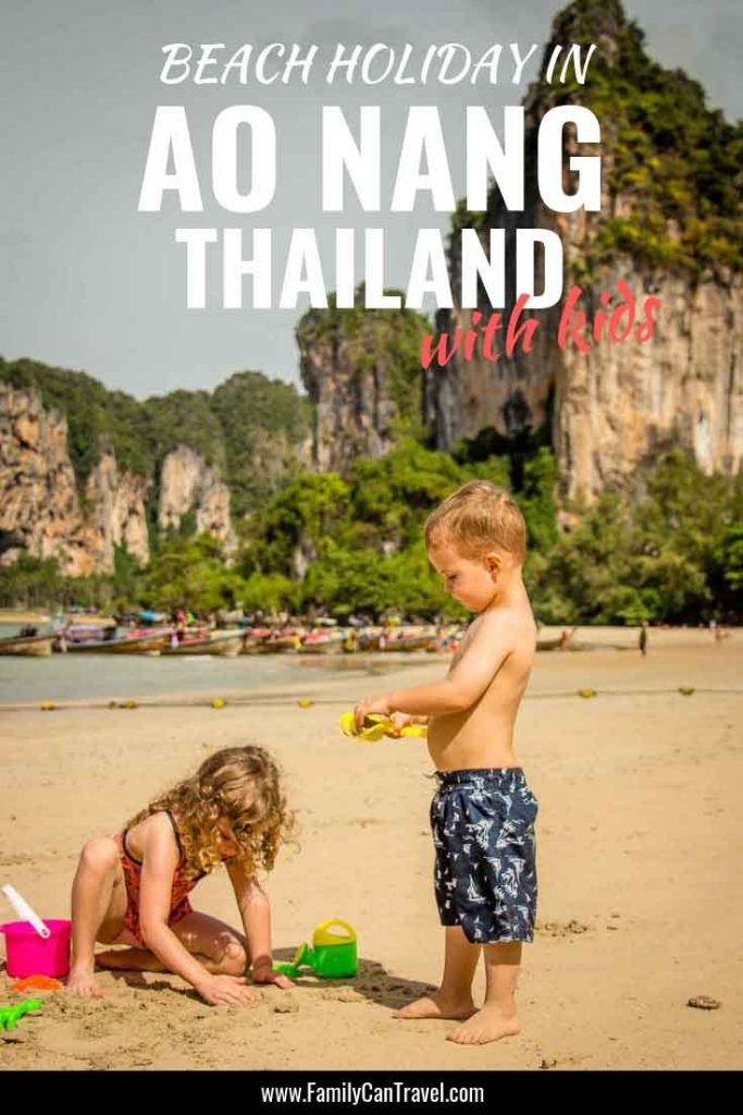 Thailand beach destinations to visit with kids. An Ao Nang beach holiday is the perfect spot to take day trips to the famous Railay Beach and Hong Island with kids. #thailand #krabi #railaybeach #hongisland