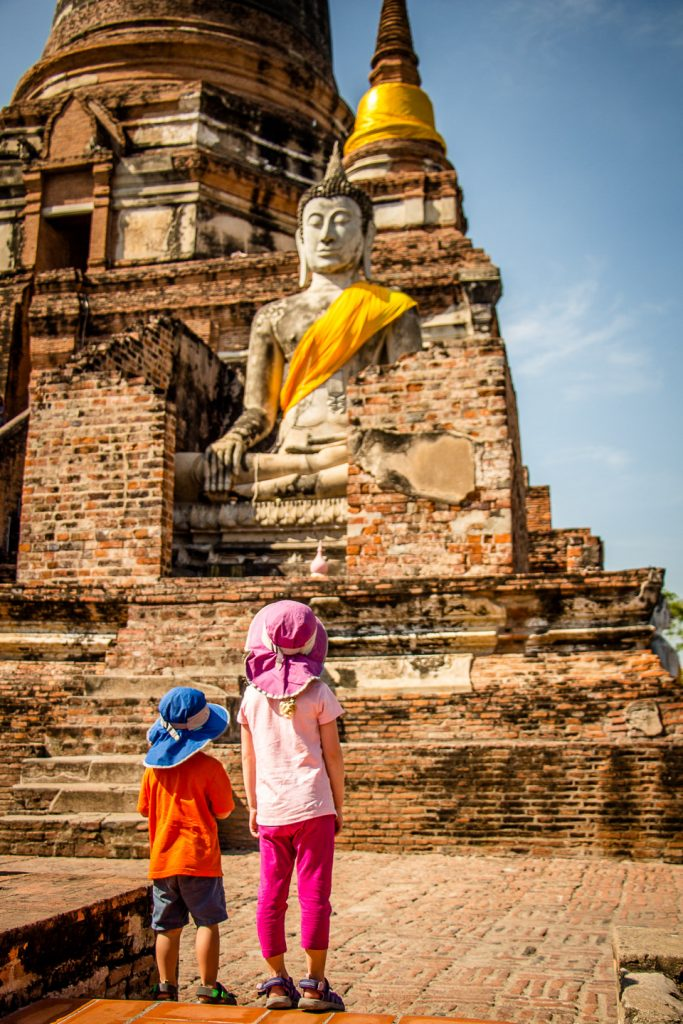 Temple in Ayutthaya with Kids in Thailand