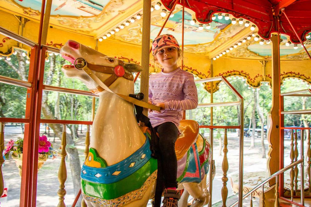 Carousel in Bosque de Chapultepec in Mexico City with Kids