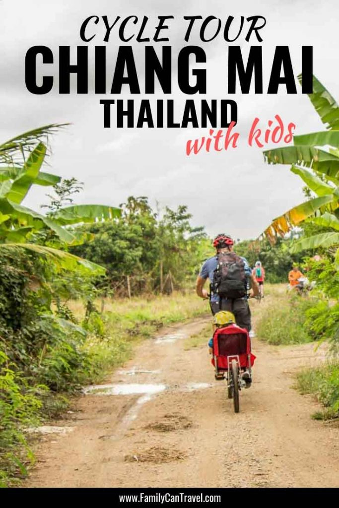 We love getting around by bike when we travel and the Chiang Mai bike tour was top of our list of things to do in Chiang Mai with kids. We couldn't have imagined a better way than biking in Chiang Mai to get the full experience. || Thailand with kids | Cycling with Kids | Bike tour in Chiang Mai | Chiang Mai with Kids #chiangmai #travelwithkids