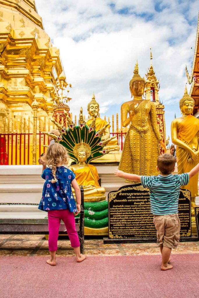 Chiang Mai Wat Phrathat Doi Suthep with kids in Thailand