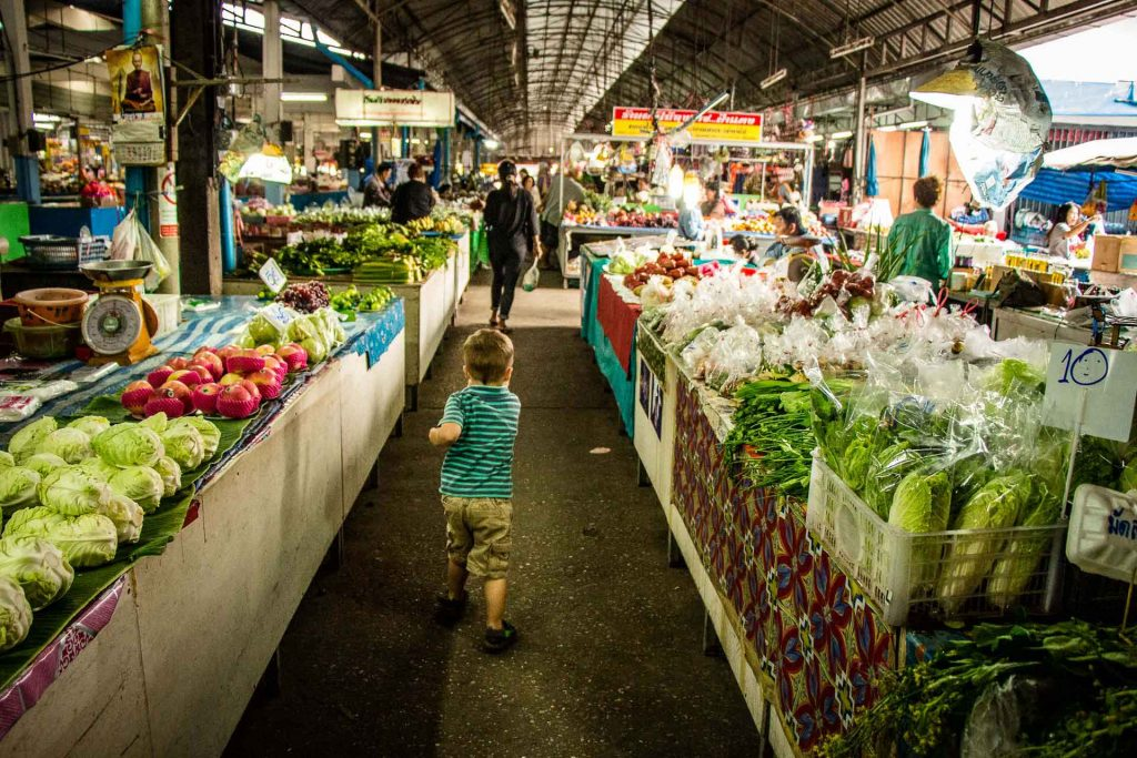 Local market in Chiang Mai Thailand with Kids