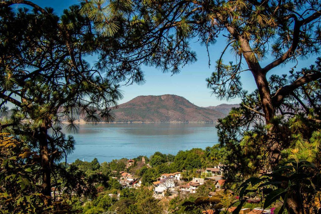 View of Lake Avandaro while hiking La Torre in Valle de Bravo Mexico
