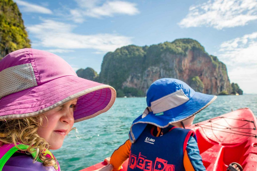 Kayaking with kids in Thailand - Railay Beach