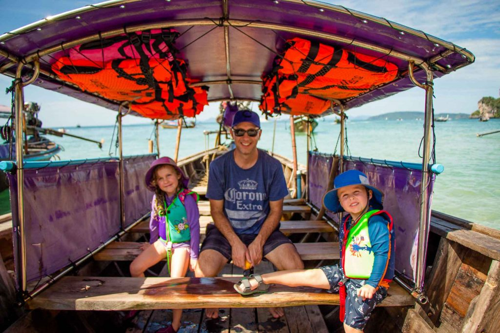 Long tail boat to Railay Beach with Kids in Thailand