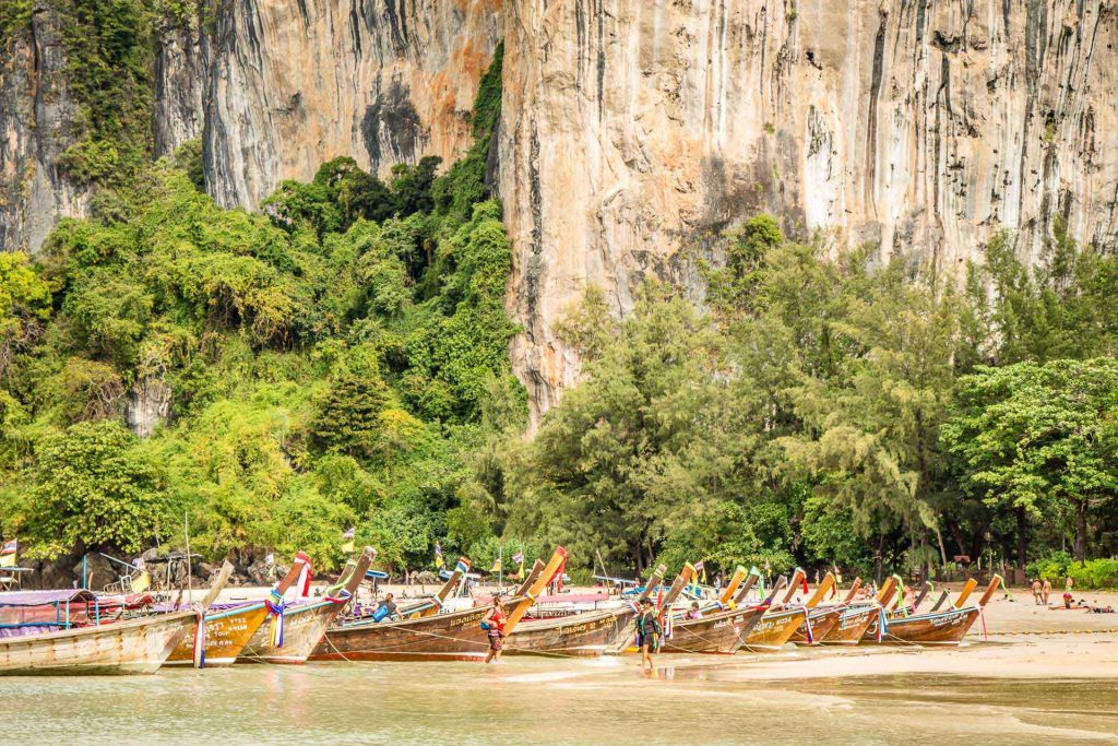 Long tail boats on Railay Beach Thailand