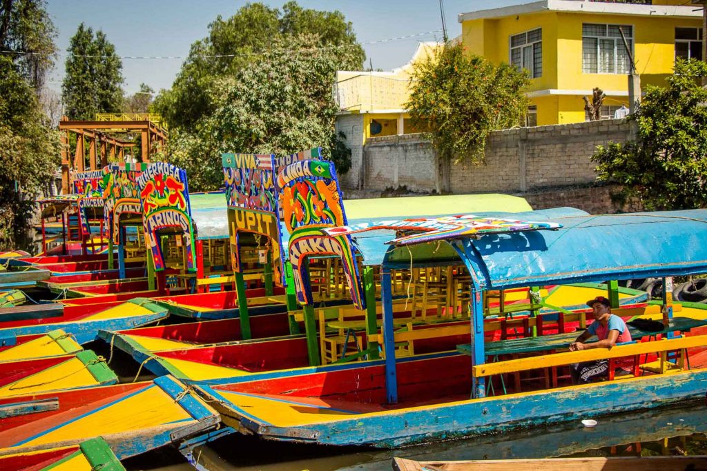 Boats on Xochimilco Canals