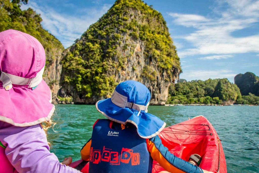 Kayaking with kids Railay Beach Thailand