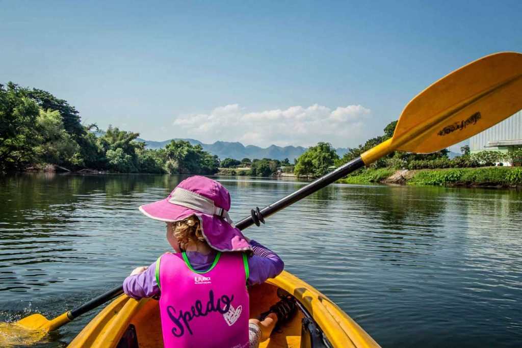 Kayak with Kids in Kanchanaburi Thailand