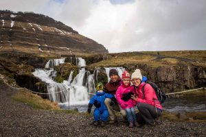 Kirkjufellsfoss Iceland with kids