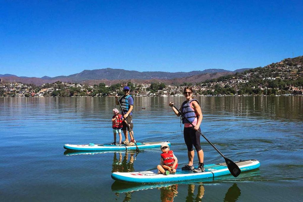Stand Up Paddle Board with Kids in Valle de Bravo Mexico