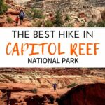 This incredible hike in Capitol Reef National Park combines the Frying Pan, Cassidy Arch and Grand Wash Trails. It has some of the most scenic views, the arch is beyond impressive and it ends in a deep canyon. It's one of our favorite hikes from our Utah road trip with kids to visit the Might 5 National Parks in Utah. #capitolreef #hikingwithkids #utah #utahwithkids #nationalparks