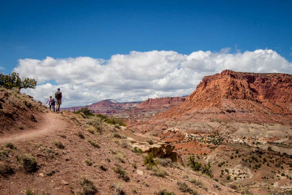 Chimney rock trail with kids in Capitol Reef NP