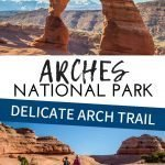 Hiking to see the Delicate Arch in Arches National Park is a must do. This arch is impressive and it's one of the best things to do in Arches National Park. Even kids can do this hike, but make sure to read our tips and cautions for hiking to Delicate Arch with kids. #utah #archesnationalpark #delicatearch #hikingwithkids #familytravel