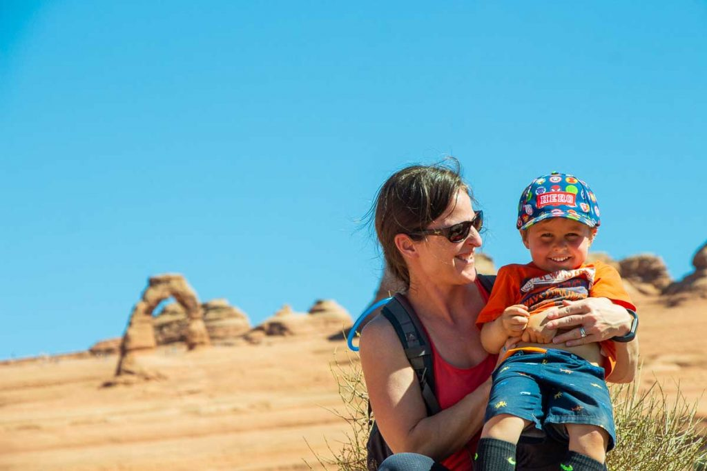 delicate arch viewpoint with kids in arches national park