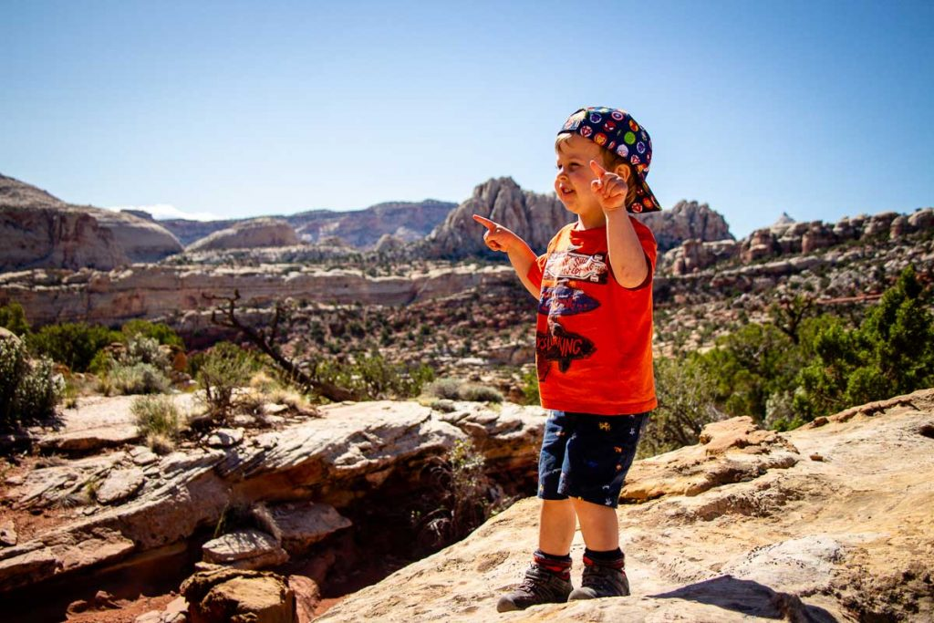 hiking in Capitol Reef NP with kids