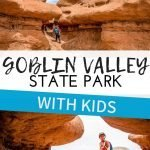 Goblin Valley State Park with kids. This is the one place you won't have to worry about whether your kids will have fun or not. Goblin Valley Utah State Park is so family friendly and a must visit. Given Goblin Valley's proximity to some of the national parks in Utah, it's easy to add it to your Utah itinerary! #hikingwithkids #utah #goblinvalley #familytravel