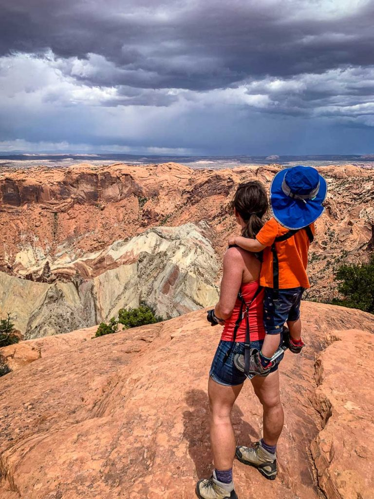 hiking upheaval dome in Canyonlands NP Utah