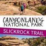Hiking the Slickrock Foot Trail in the Needles Canyonlands National Park Utah. If you are looking for a fun hike for kids, don't miss this one! It's kid friendly and has the most incredible views. The entire family will love it! #utah #utahwithkids #hikingwithkids #canyonlands #theneedlescanyonlands