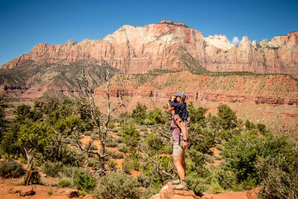 What to bring on Zion hikes - Piggyback Rider and binoculars