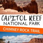 Looking for stunning views and incredible scenery in Capitol Reef NP? The Chimney Rock Loop Trail has it all. This loop starts by climbing to the top of the mesa, then down the other side where you hike in the canyon with a towering rock wall looming overhead. It has some of the best views and can be hiked with kids. #hikingwithkids #capitolreefnp #utah