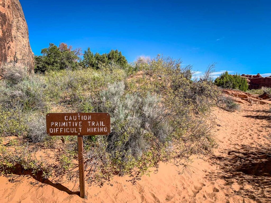 sign for primitive trail in arches national park