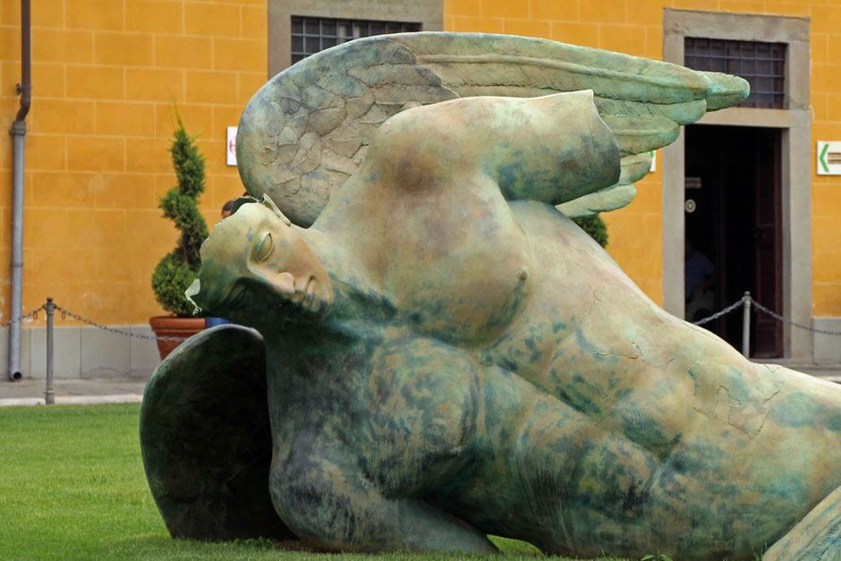 There is lots of interesting art in Pisa. Kids will like this fallen angel statue in the Square of Miracles