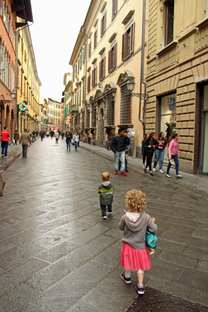 The pedestrian only streets make visiting Pisa with kids easy