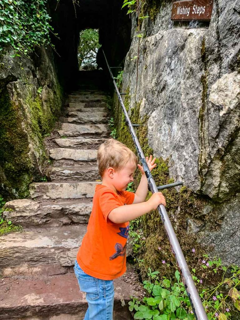 image of boy walking up stairs at Blarney Castle