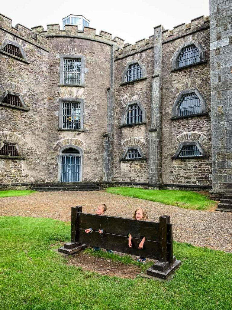 image of two children in front of Cork City Gaol