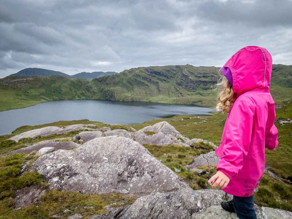 image of girl looking down onto Barley Lake in Ireland