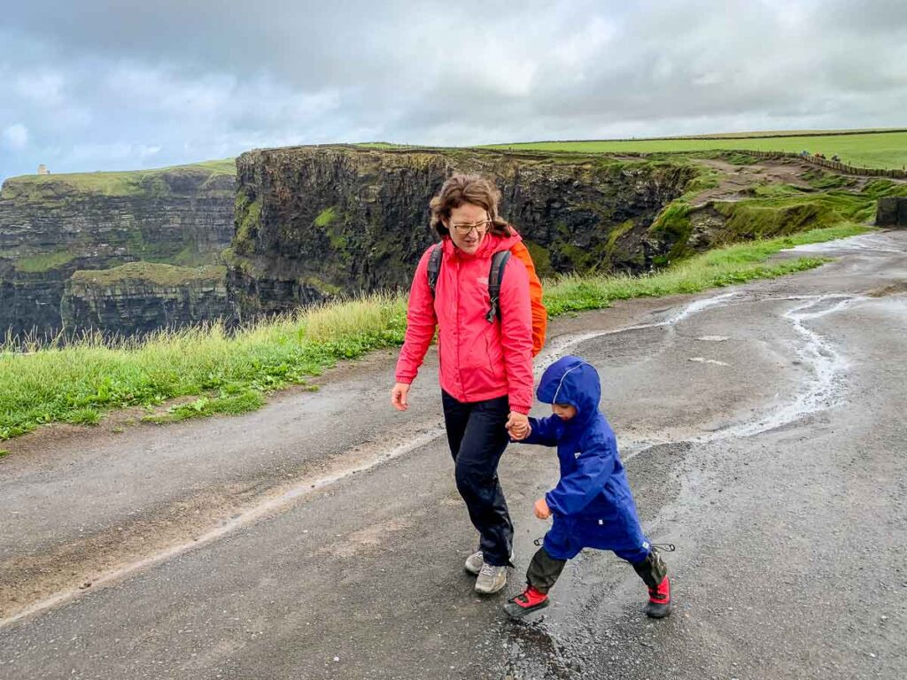 image of mother and child at cliffs of moher Ireland