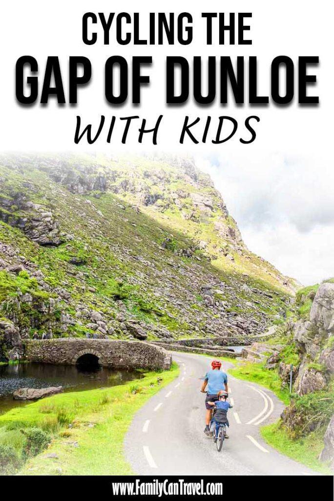 image of cycling the gap of dunloe in Killarney National Park Ireland with kids