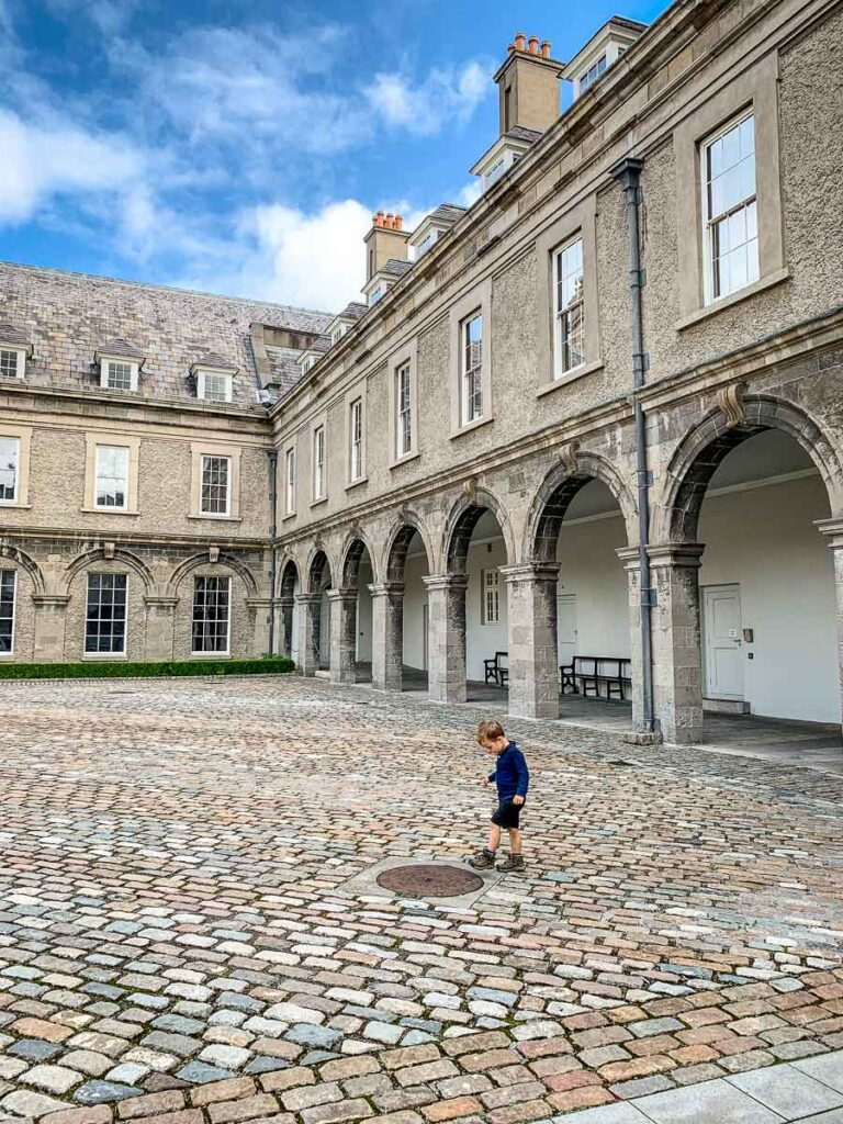 image of boy in courtyard of Irish Museum of Modern Art in Dublin