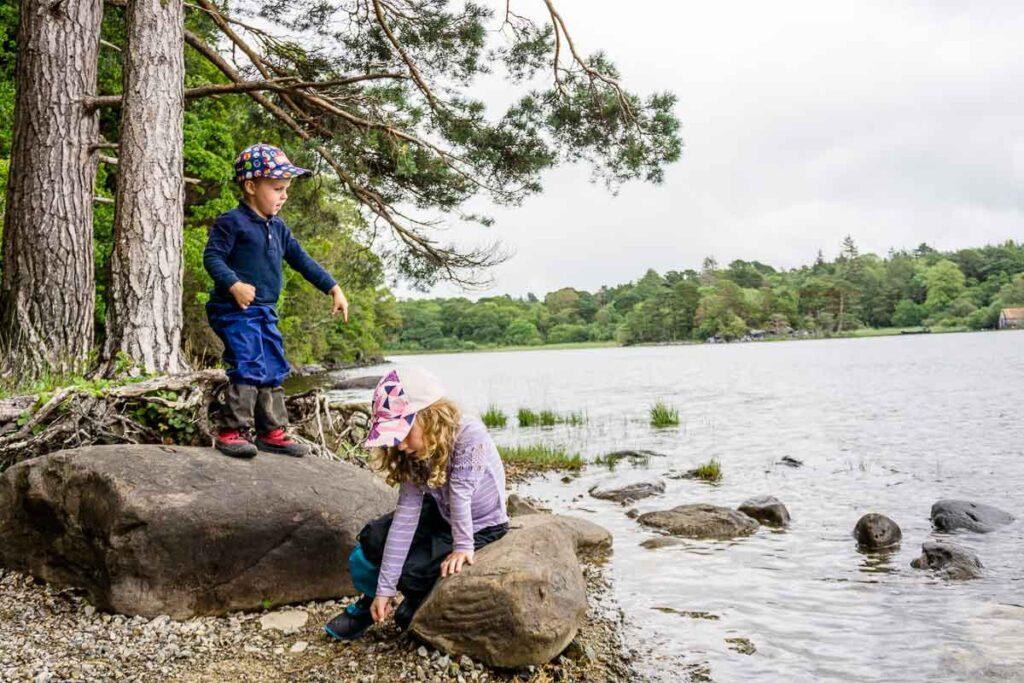 image of kids along the shores of Muckross Lake in Killarney National Park Ireland