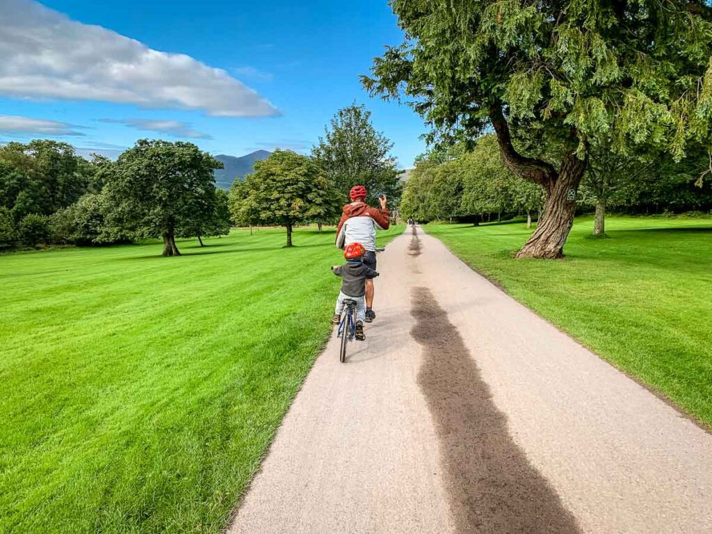 Image of cycling through Killarney National Park in Ireland with Kids