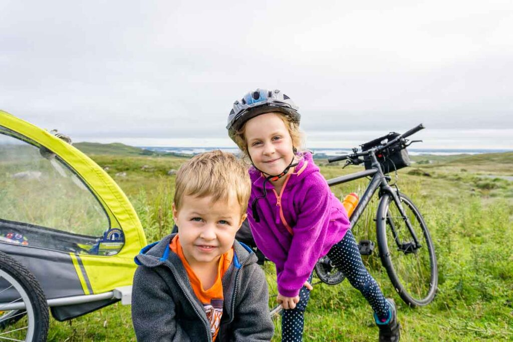 image of family cycling in ireland