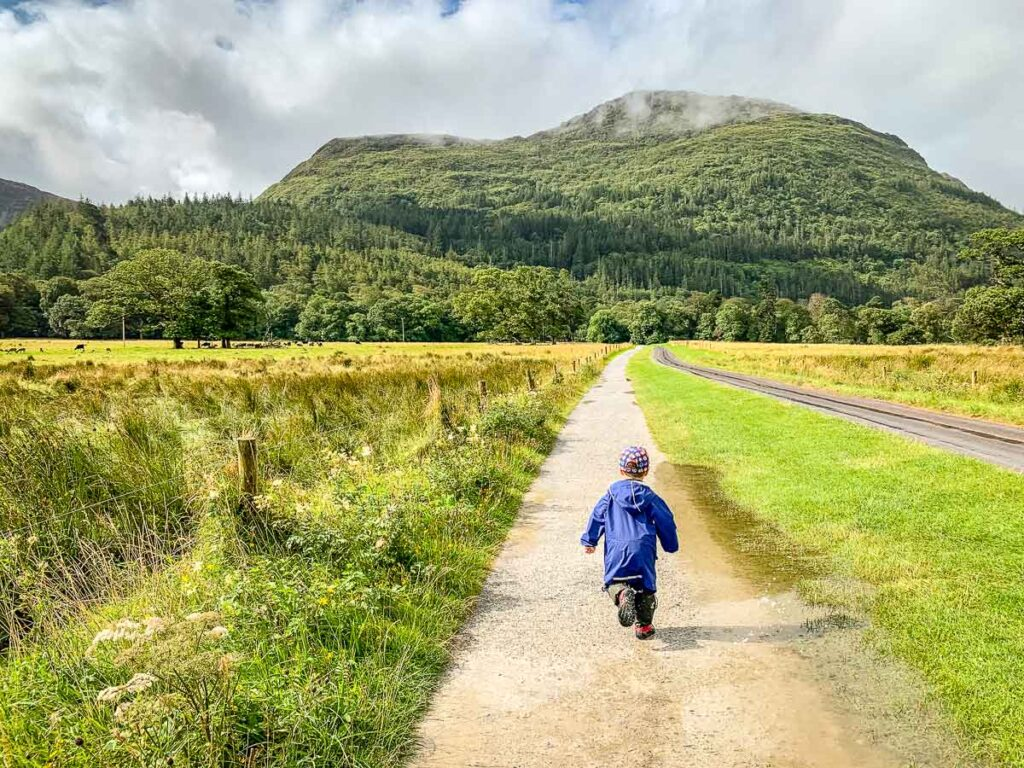 image of boy walking down path with the path and mountain in the distance in Killarney NP