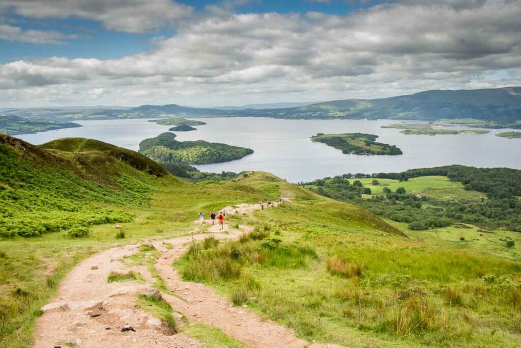 image of conic hill hiking trail in Scotland